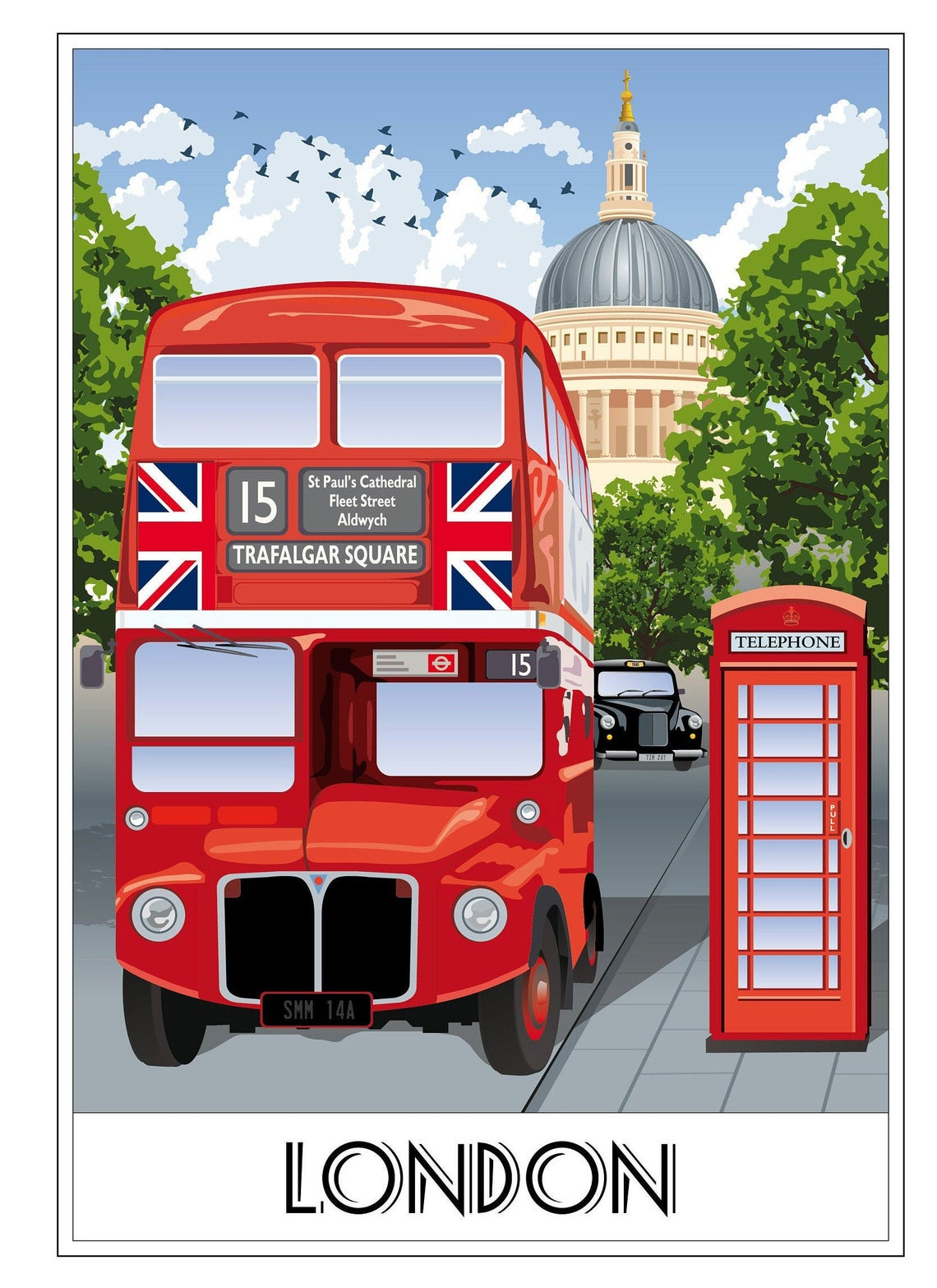 London, Bus, Routemaster, Taxi, Telephone Box, St Paul's Cathedral