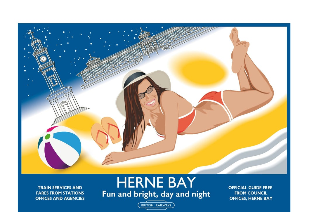 Herne Bay Beach, Seafront, Clock Tower, Central Bandstand, Kent