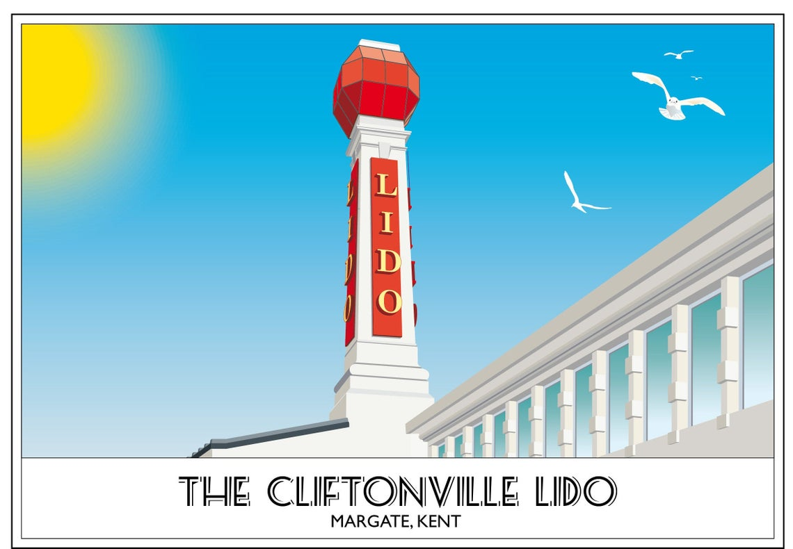 Margate Lido Cliftonville Art Deco Beacon Swimming Clifton Baths Seaside Kent Vintage 1920's